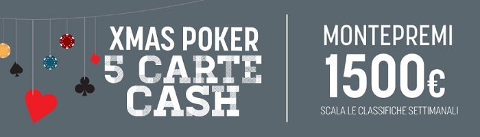 snai xmas poker 5 carte cash
