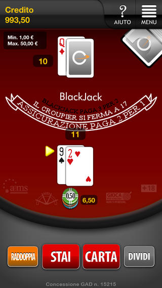 App mobile per il Blackjack di Snai