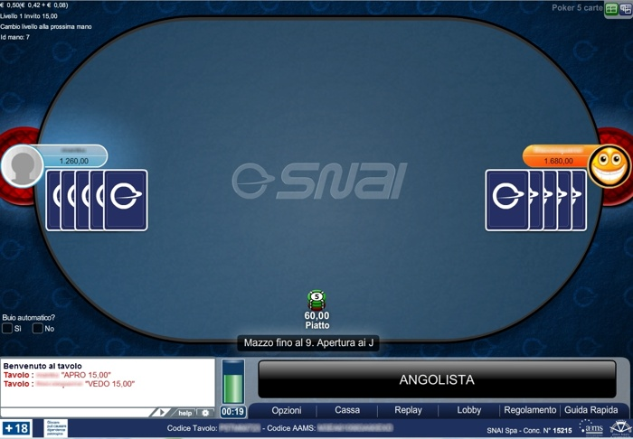 poker 5 carte snai