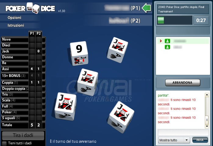 Poker Dice di Snai